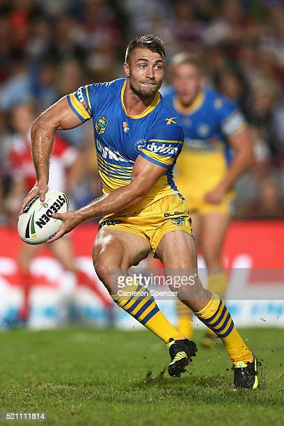 Kieran Foran of the Eels passes during the round seven NRL match between the Manly Sea Eagles and Parramatta Eels at Brookvale Oval on April 14 2016...