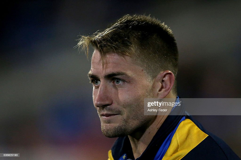 Kieran Foran of the Eels sits on the bench during the round 12 NRL match between the Newcastle Knights and the Parramatta Eels at Hunter Stadium on May 30, 2016 in Newcastle, Australia.