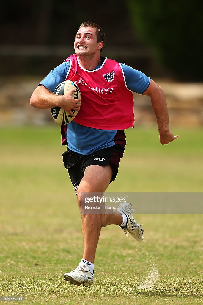 Kieran Foran of the Sea Eagles runs the ball during a Manly Sea Eagles NRL pre-season training session at Sydney Academy of Sport on November 21, 2012 in Sydney, Australia.