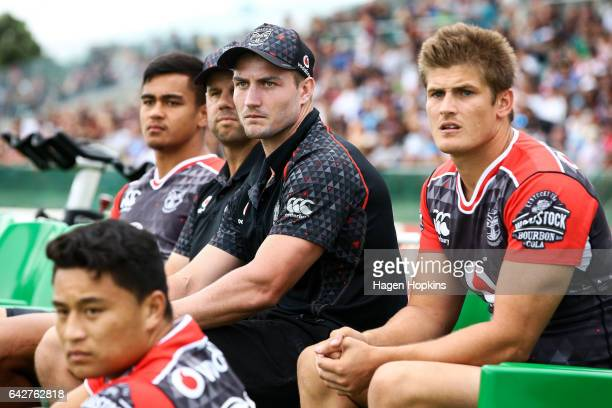 Kieran Foran of the Warriors looks on from the bench during the NRL Trial match between the Warriors and the Gold Coast Titans at Central Energy...