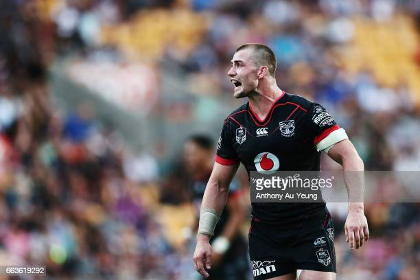 Kieran Foran of the Warriors reacts during the round five NRL match between the New Zealand Warriors and the Gold Coast Titans at Mt Smart Stadium on...