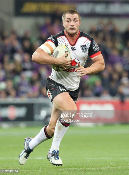 Kieran Foran of the Warriors runs with the ball during the round eight NRL match between the Melbourne Storm and the New Zealand Warriors at AAMI...