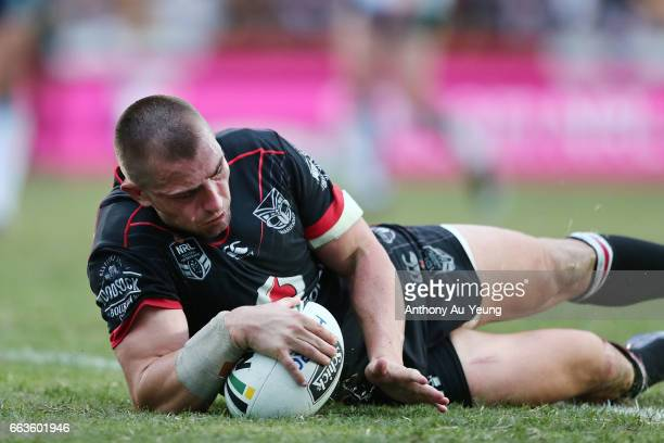 Kieran Foran of the Warriors scores a try during the round five NRL match between the New Zealand Warriors and the Gold Coast Titans at Mt Smart...