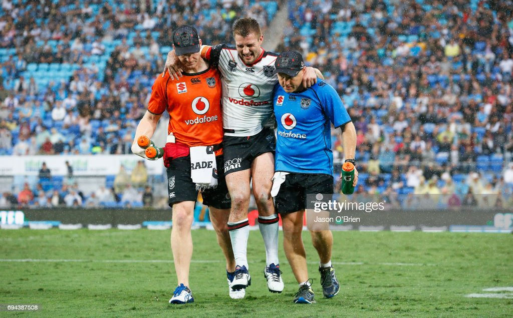 Kieran Foran of the Warriors suffers an injury during the round 14 NRL match between the Gold Coast Titans and the New Zealand Warriors at Cbus Super Stadium on June 10, 2017 in Gold Coast, Australia.