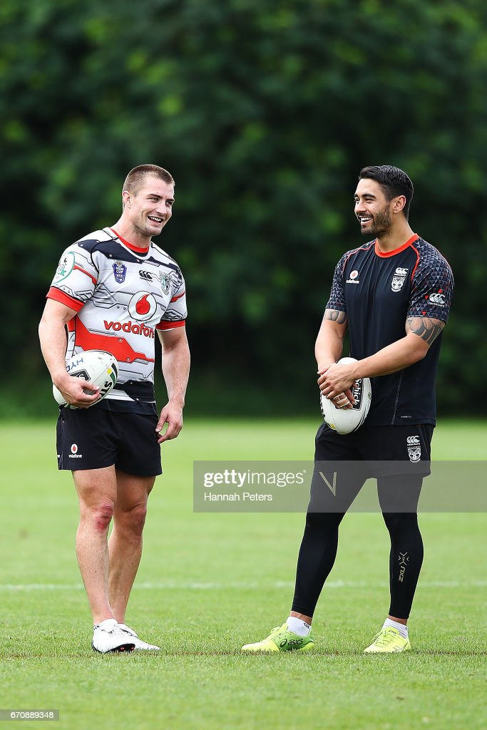 Kieran Foran talks with Shaun Johnson during a New Zealand Warriors NRL training session at Mt Smart Stadium on April 21, 2017 in Auckland, New Zealand.