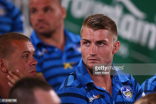 Kieran Foran who was ruled out of the match due to injury watches on from the grandstand during the round one NRL match between the Parramatta Eels...