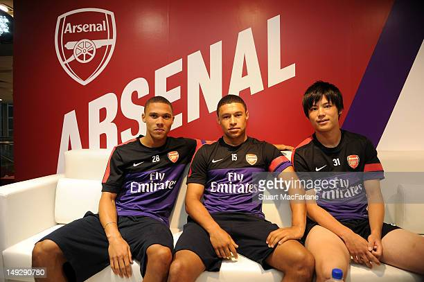 Kieran Gibbs Alex OxladeChamberlain and Ryo Miyaichi of Arsenal attend a Nike event in Beijing during their preseason Asian Tour in China on July 26...