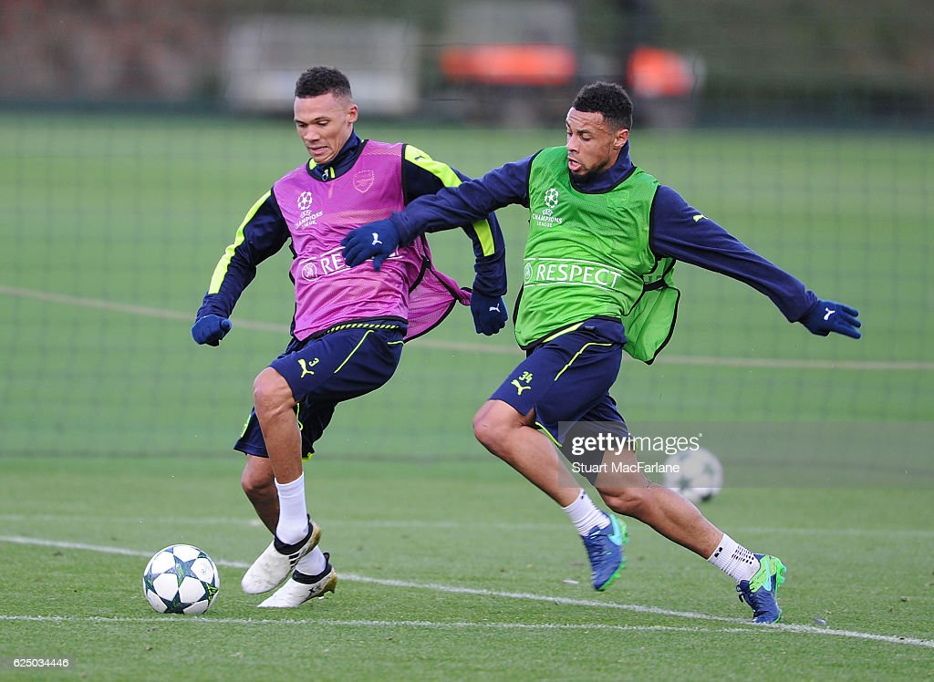 Kieran Gibbs and Francis Coquelin of Arsenal during a training session at London Colney on November 22, 2016 in St Albans, England.