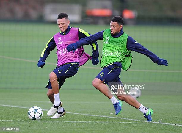 Kieran Gibbs and Francis Coquelin of Arsenal during a training session at London Colney on November 22 2016 in St Albans England