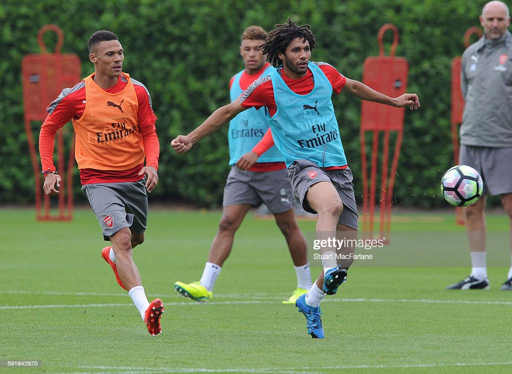 Kieran Gibbs and Mohamed Elneny of Arsenal during a training session at London Colney on August 19 2016 in St Albans England
