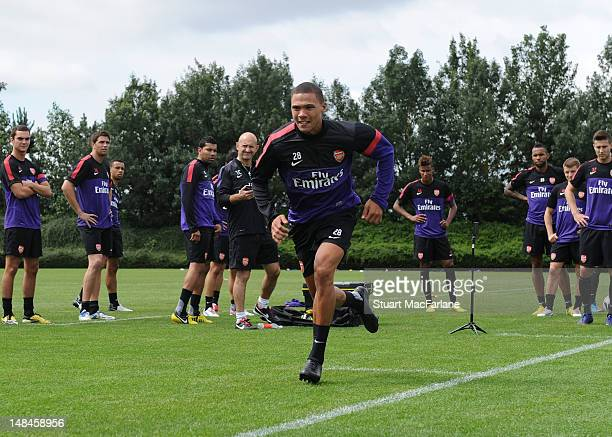 Kieran Gibbs of Arsenal during a training session at London Colney on July 17 2012 in St Albans England