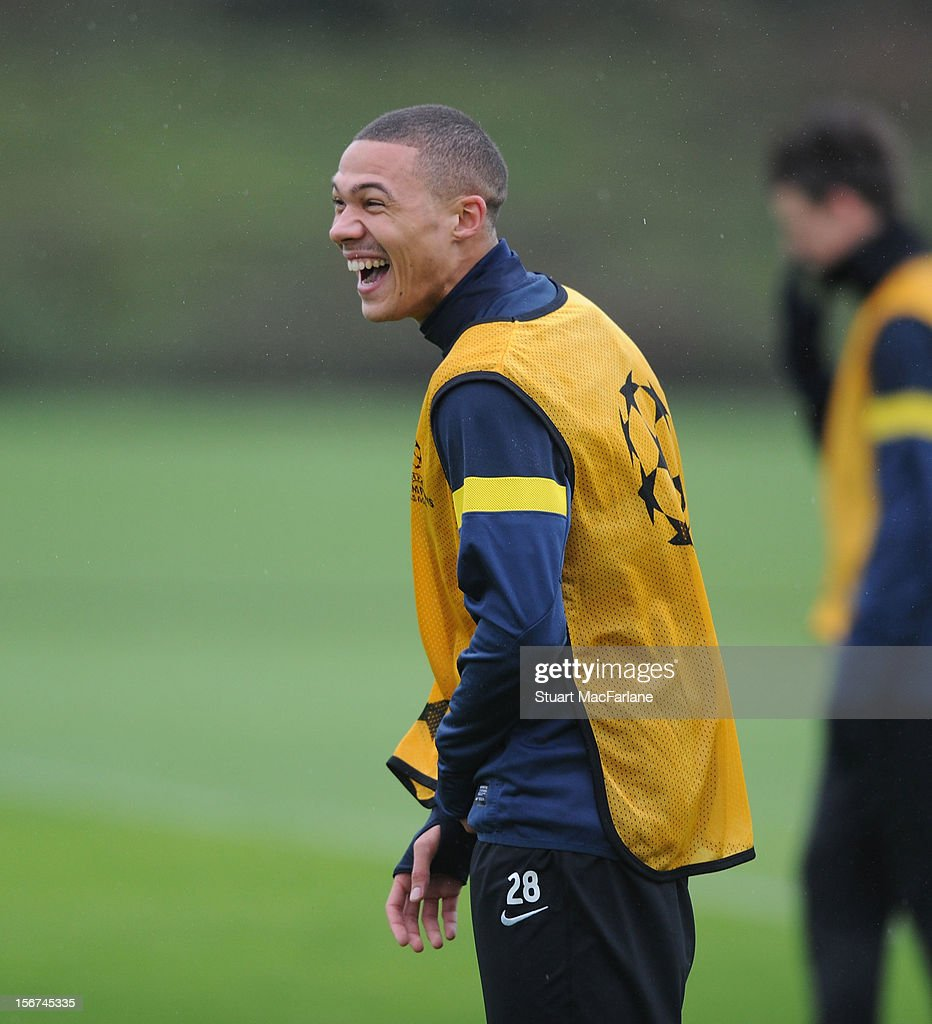 <a gi-track='captionPersonalityLinkClicked' href=/galleries/search?phrase=Kieran+Gibbs&family=editorial&specificpeople=4192585 ng-click='$event.stopPropagation()'>Kieran Gibbs</a> of Arsenal during a training session at London Colney on November 20, 2012 in St Albans, England.