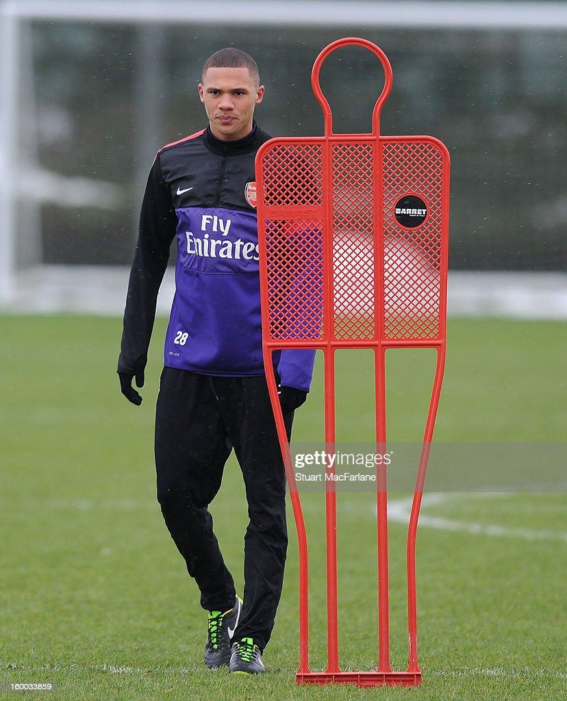 Kieran Gibbs of Arsenal during a training session at London Colney on January 25, 2013 in St Albans, England.