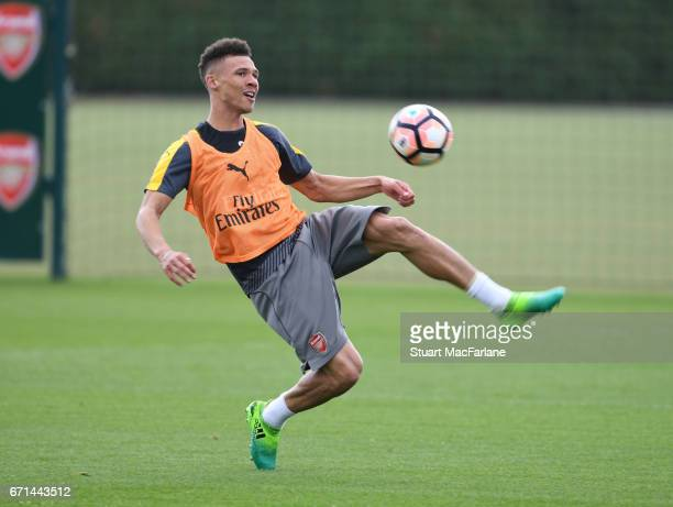 Kieran Gibbs of Arsenal during a training session at London Colney on April 22 2017 in St Albans England