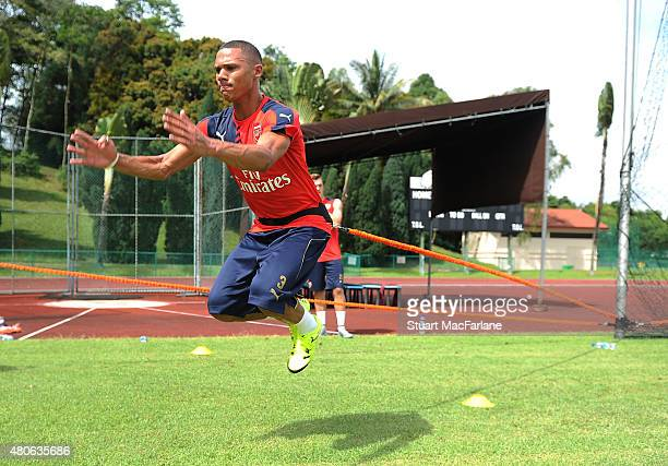 Kieran Gibbs of Arsenal during a training session at the Singapore American School on July 14 2015 in Singapore