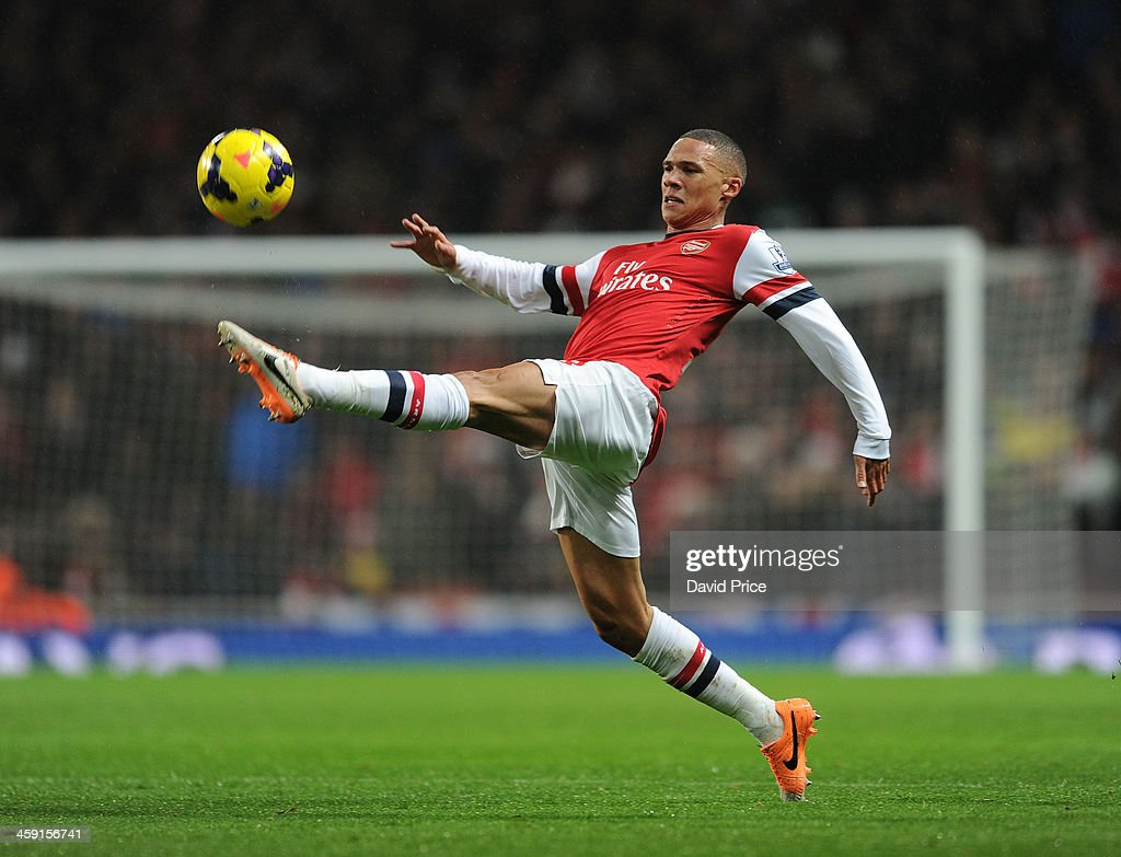 <a gi-track='captionPersonalityLinkClicked' href=/galleries/search?phrase=Kieran+Gibbs&family=editorial&specificpeople=4192585 ng-click='$event.stopPropagation()'>Kieran Gibbs</a> of Arsenal during the match between Arsenal and Chelsea in the Barclays Premier League at Emirates Stadium on December 23, 2013 in London, England.