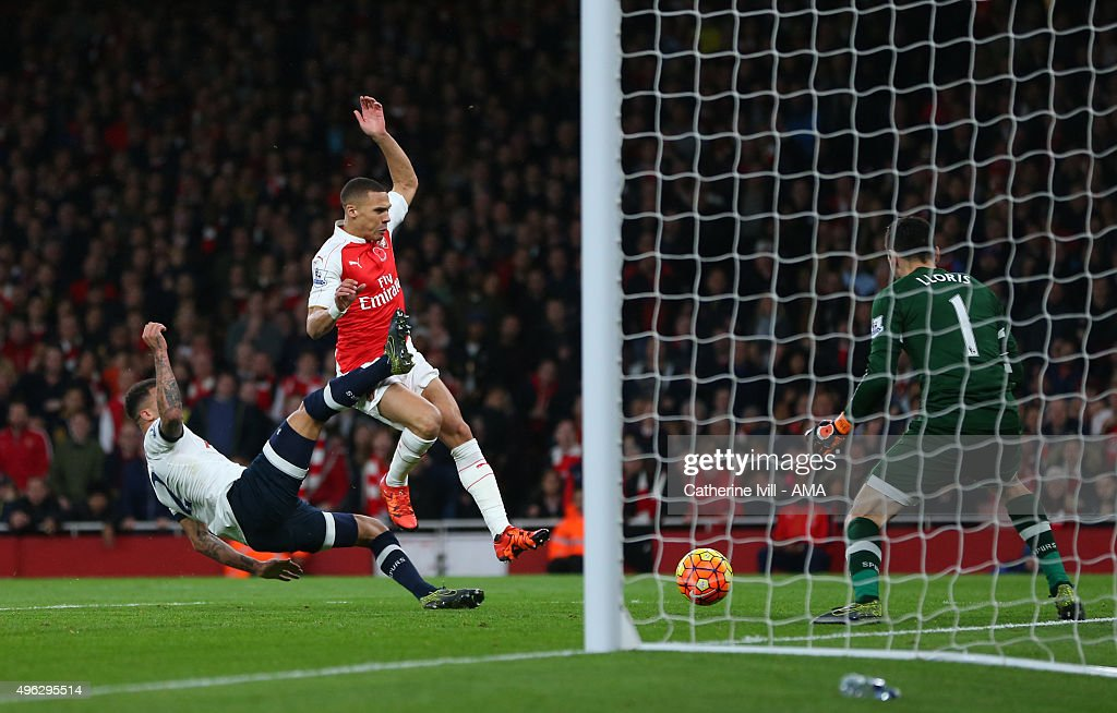 Kieran Gibbs of Arsenal scores a goal to make it 1-1 during the Barclays Premier League match between Arsenal and Tottenham Hotspur at Emirates Stadium on November 8, 2015 in London, England.