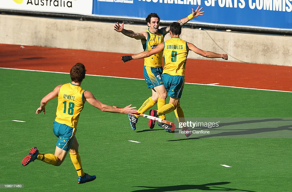 Kieran Govers of Australia celebrates scoring the winning goal in extra time to defeat the Netherlands in the final of the 2012 Champions Trophy at State Netball Hockey Centre on December 9, 2012 in Melbourne, Australia.