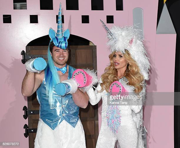 Kieran Hayler and Katie Price attend a press launch for the new reality series 'Katie Price's Pony Club' at The Worx on April 27 2016 in London...