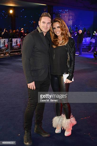 Kieran Hayler and Katie Price attend the World Premiere of 'RoboCop' at the BFI IMAX on February 5 2014 in London England