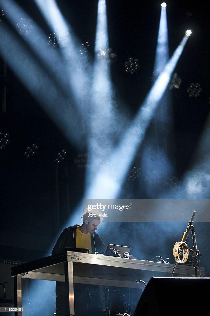 Kieran Hebden of Four Tet performs on stage during BBK Live at Kobetamendi on July 13, 2012 in Bilbao, Spain.