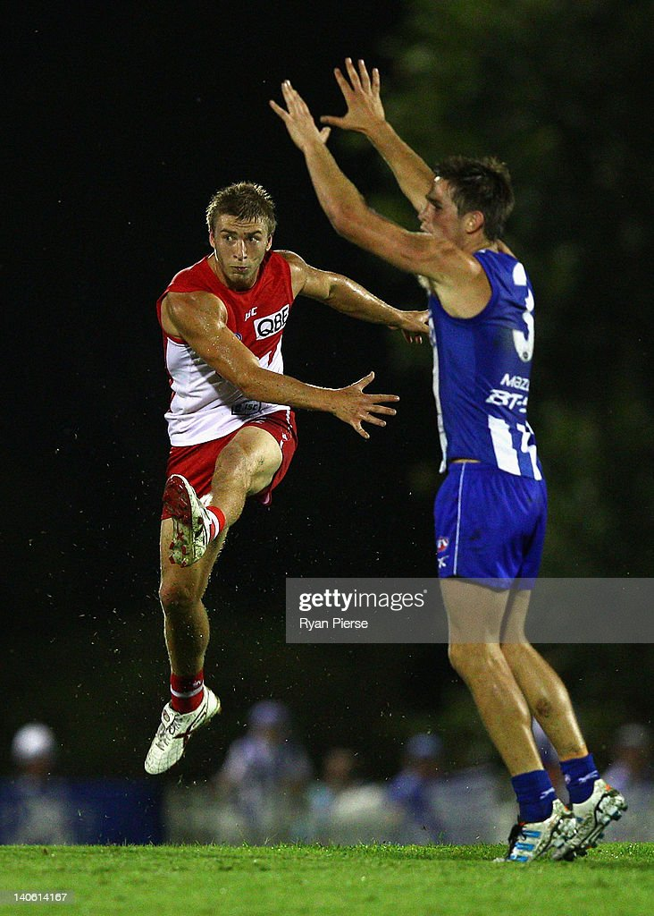 Kieran Jack of the Swans kicks out of the centre during the round two NAB Cup AFL match between the Sydney Swans and the North Melbourne Kangaroos at Bruce Purser Oval on March 3, 2012 in Sydney, Australia.