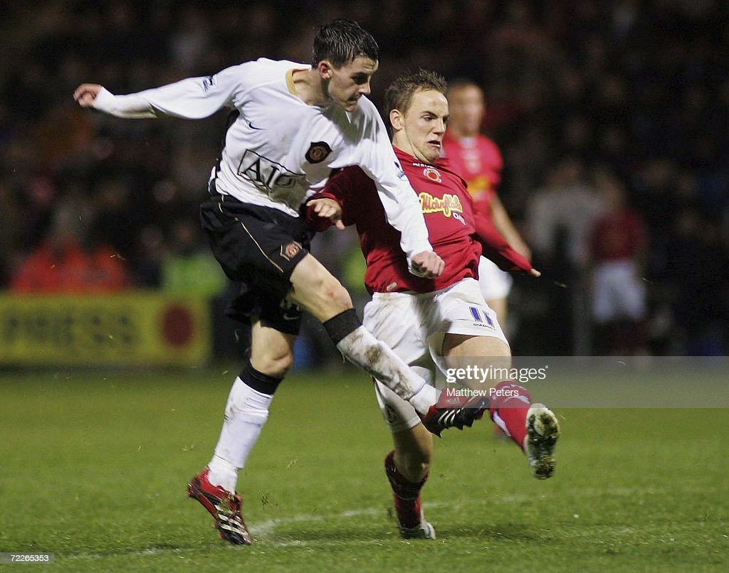 Kieran Lee of Manchester United scores the third goal during the Carling Cup match between Crewe Alexandra and Manchester United at The Alexandra...