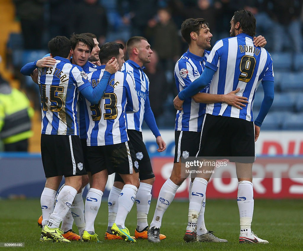<a gi-track='captionPersonalityLinkClicked' href=/galleries/search?phrase=Kieran+Lee&family=editorial&specificpeople=3836097 ng-click='$event.stopPropagation()'>Kieran Lee</a> of Sheffield Wednesday is congratulated on his goal during the Sky Bet Championship match between Sheffield Wednesday and Brentford at Hillsborough Stadium on February 13, 2016 in Sheffield, United Kingdom.