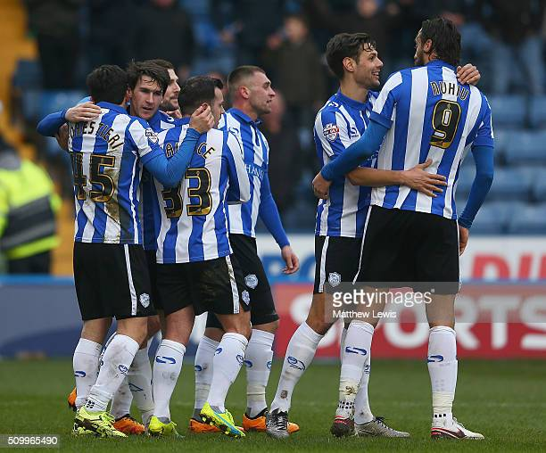 Kieran Lee of Sheffield Wednesday is congratulated on his goal during the Sky Bet Championship match between Sheffield Wednesday and Brentford at...