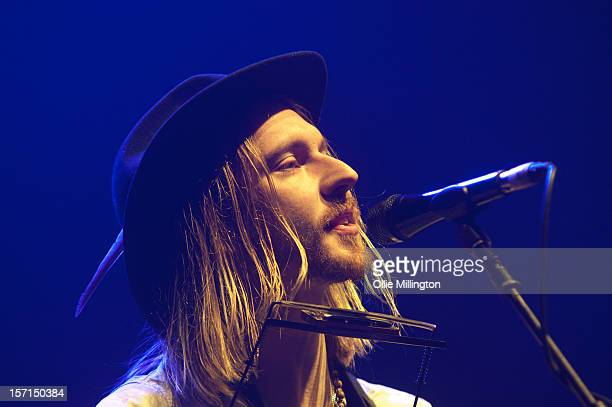 Kieran Leonard performs onstage supporting Keane on their first ever gig in the round during a date of their November UK Arena tour at Nottingham...