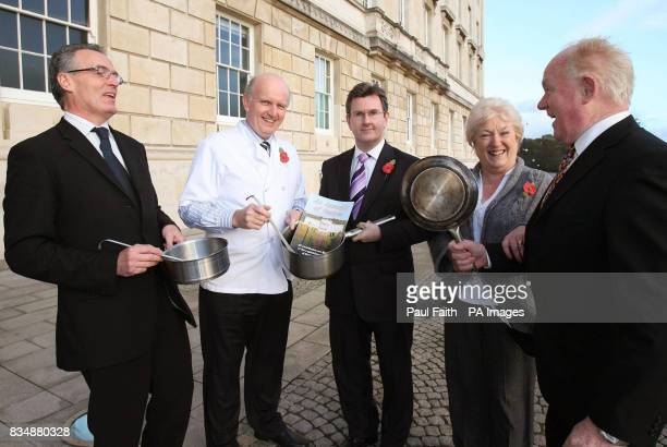 Kieran McCarthy Strangford MLA jokes with from left to right Junior Minister Gerry Kelly Health Minister Michael McGimpsey Junior Minister Jeffrey...
