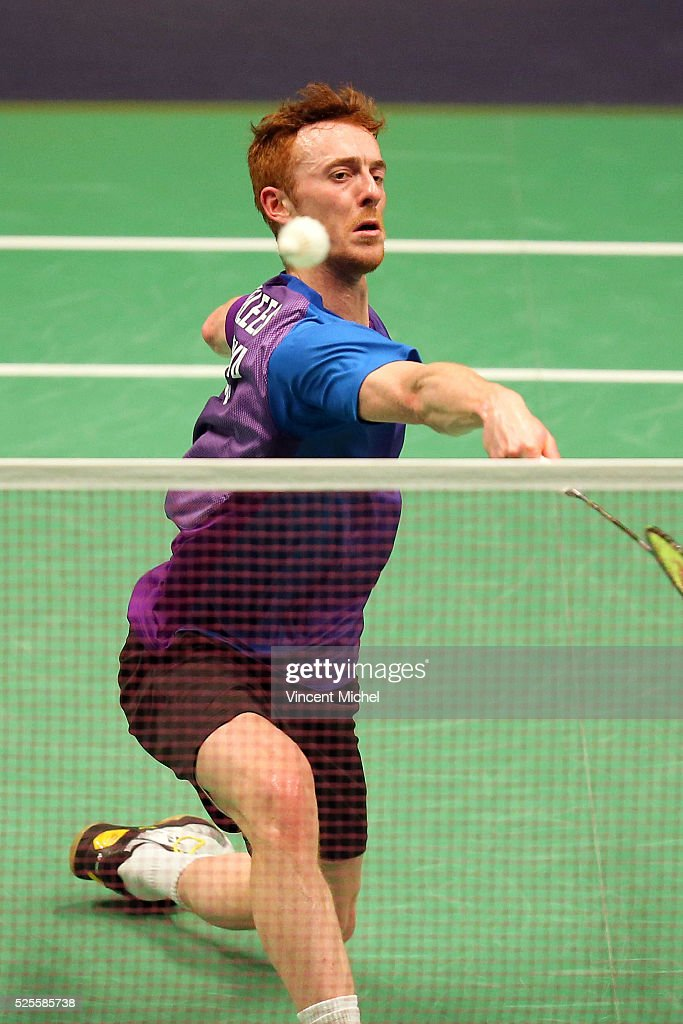 Kieran Merrilees of Scotland during Men's singles match at the 2016 Badminton European Championships on April 28, 2016 in Mouilleron-le-Captif, France.