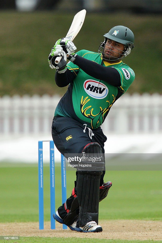 Kieran Noema-Barnett of Central Districts bats during the Twenty20 match between Wellington Firebirds and Central Stags at Hawkins Basin Reserve on December 26, 2012 in Wellington, New Zealand.