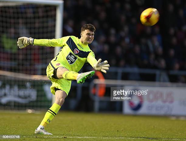 Kieran O'Hara of Morecambe in action during the Sky Bet League Two match between Northampton Town and Morecambe at Sixfields Stadium on January 23...