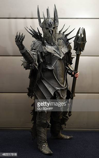 Kieran Pledger dressed as Sauron from Lord of the Rings attends the second day of the MCM Comic Con in the Manchester Central exhibition venue in...