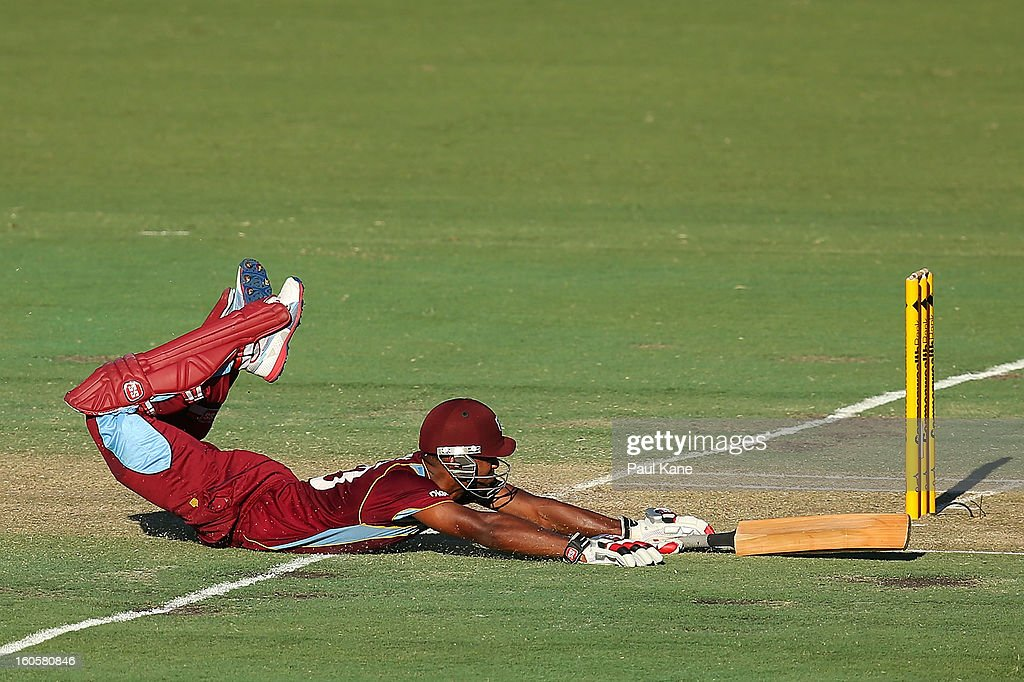 Kieran Powell of the West Indies dives into the crease during game two of the Commonwealth Bank One Day International Series between Australia and the West Indies at WACA on February 3, 2013 in Perth, Australia.