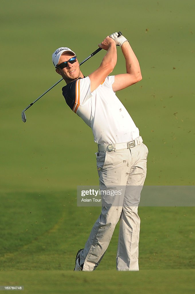 Kieran Pratt of Australia in action during day 3 of the Avantha Masters at Jaypee Greens Golf Course on March 16, 2013 in Noida, India.