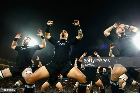Kieran Read Aaron Smith and Aaron Cruden of the All Blacks perform the haka during The Rugby Championship match between the New Zealand All Blacks...