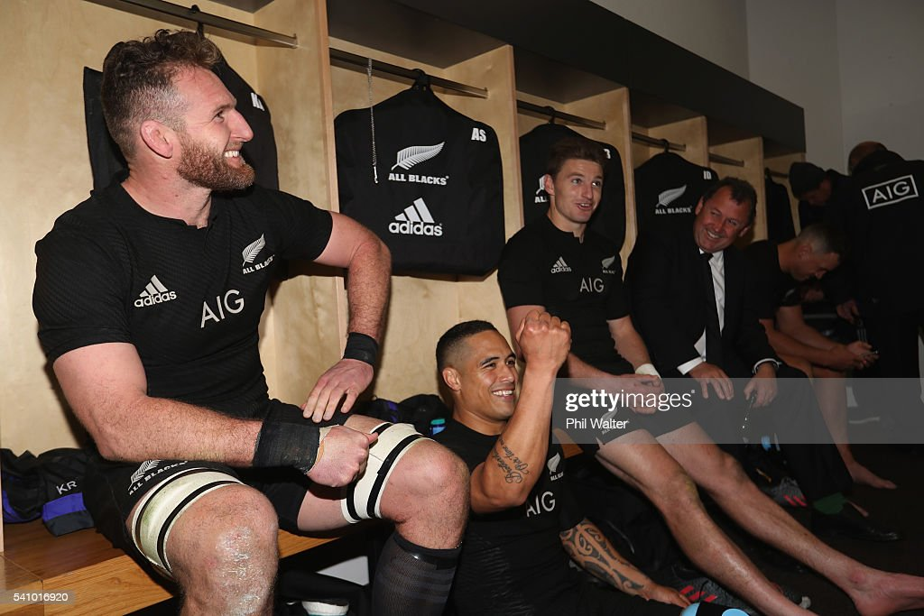 Kieran Read Aaron Smith Beauden Barrett and assistant coach Ian Foster relax in the dressing room following the International Test match between the...