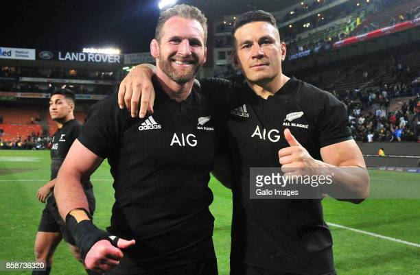 Kieran Read and Sonny Bill Williams of New Zealand after the Rugby Championship 2017 match between South Africa and New Zealand at DHL Newlands on...