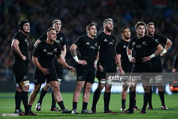 Kieran Read and TJ Perenara of New Zealand check the TMO with the team during the Rugby Championship match between the New Zealand All Blacks and the...