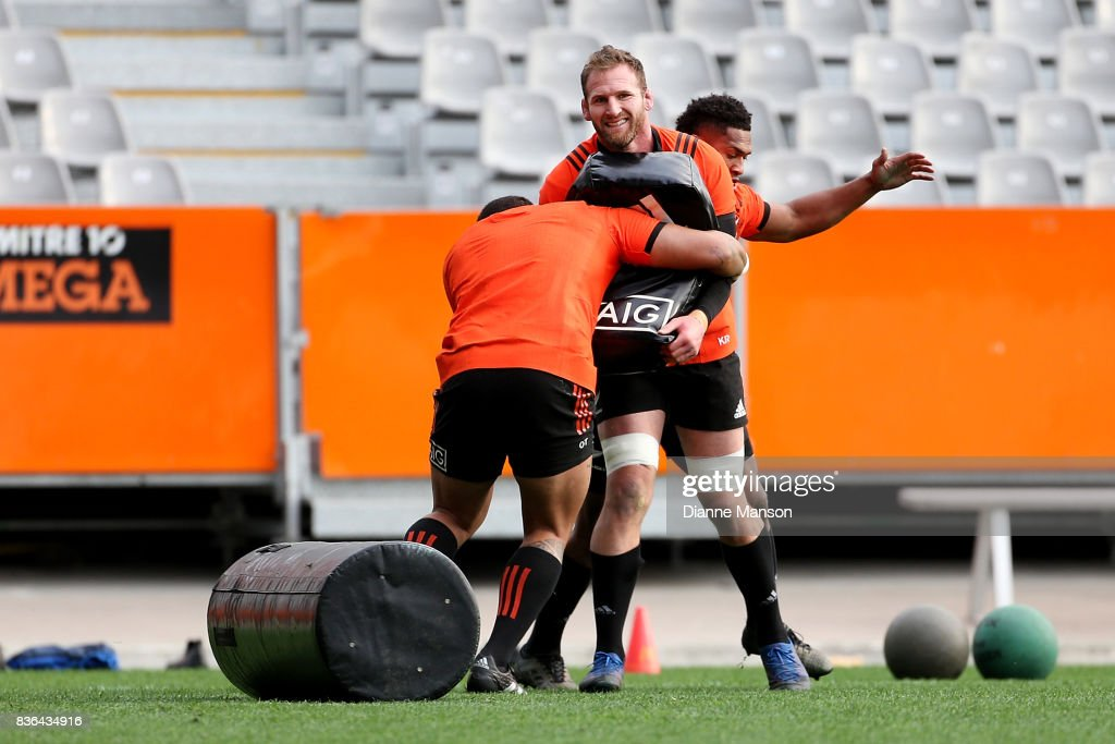 Kieran Read, captain of the All Blacks, is tackled during a New Zealand All Blacks Training Session on August 22, 2017 in Dunedin, New Zealand.
