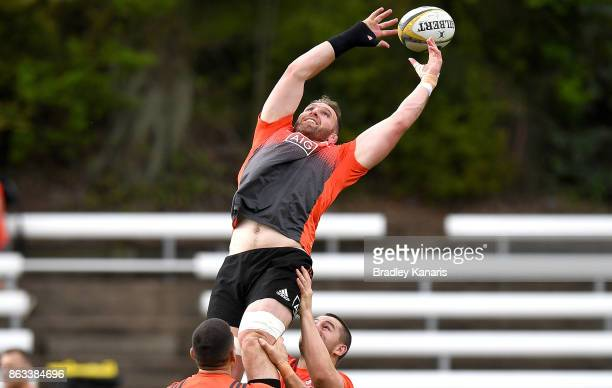 Kieran Read competes at the lineout during the All Blacks Captain's Run on October 20 2017 in Brisbane Australia