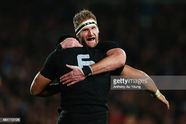 Kieran Read of New Zealand celebrates with teammate Victor Vito during The Rugby Championship Bledisloe Cup match between the New Zealand All Blacks...