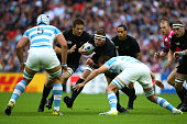 Kieran Reid of New Zealand charges upfield during the 2015 Rugby World Cup Pool C match between New Zealand and Argentina at Wembley Stadium on...