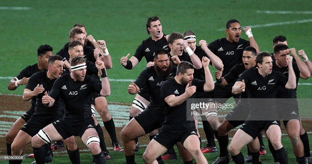 <a gi-track='captionPersonalityLinkClicked' href=/galleries/search?phrase=Kieran+Read&family=editorial&specificpeople=789465 ng-click='$event.stopPropagation()'>Kieran Read</a> of New Zealand leads the All Blacks Haka prior to the International Test match between the New Zealand All Blacks and Wales at Forsyth Barr Stadium on June 25, 2016 in Dunedin, New Zealand.