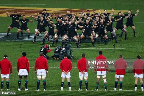 Kieran Read of New Zealand leads the haka during the International Test match between the New Zealand All Blacks and the British Irish Lions at...
