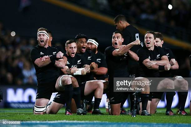 Kieran Read of New Zealand leads the haka during the Rugby Championship match between the New Zealand All Blacks and Argentina at Waikato Stadium on...