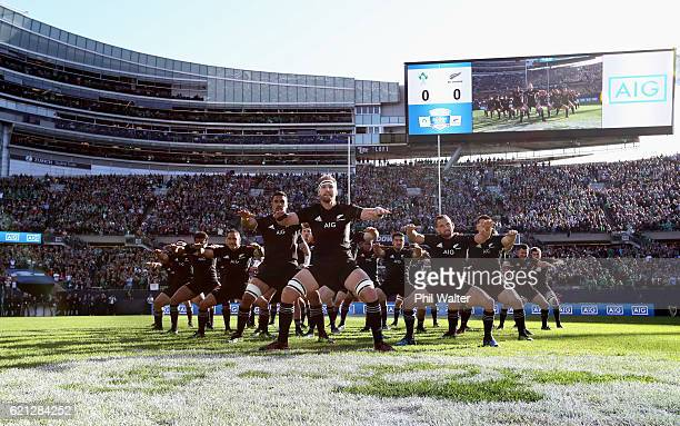 Kieran Reid of New Zealand leads the Haka prior to kickoff during the international match between Ireland and New Zealand at Soldier Field on...