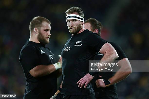 Kieran Read of New Zealand looks on during the Bledisloe Cup Rugby Championship match between the New Zealand All Blacks and the Australia Wallabies...